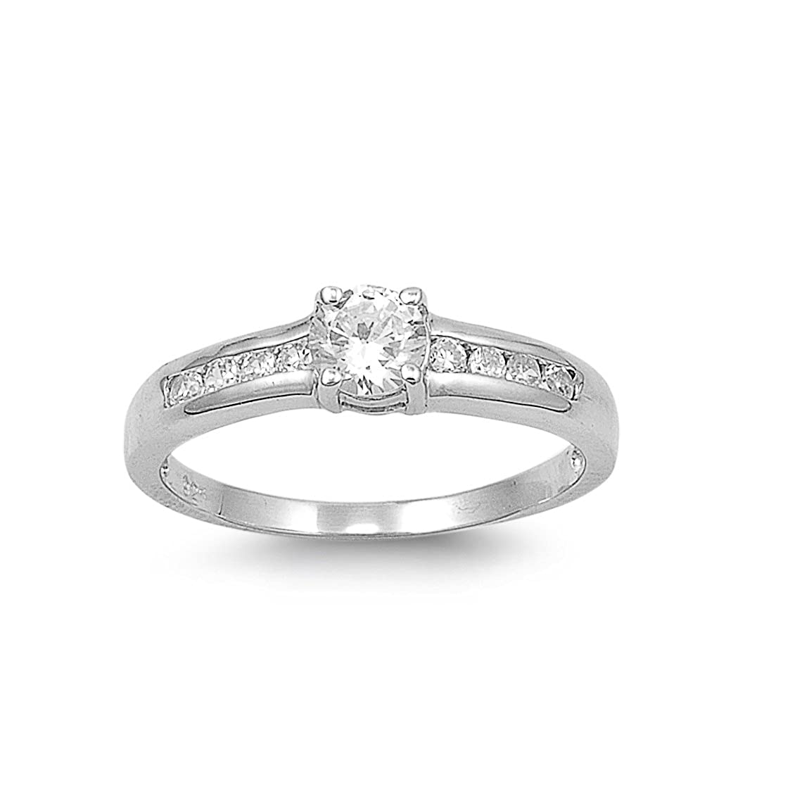 CloseoutWarehouse Round Center Cubic Zirconia Ring Sterling Silver 925