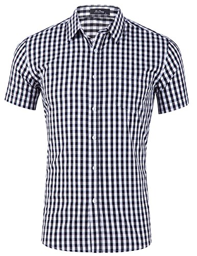 XI PENG Men's Casual Cotton Plaid Checkered Gingham Short Sleeve Dress Shirts (Black White Checkered, Large) -
