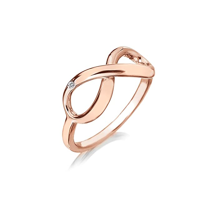 Hot Diamonds Infinity Rose Gold Plated Sterling Silver Ring KpQMU