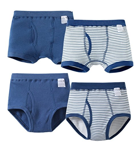 FANTASIEN Little Boys' 100% Cotton Briefs Underwear Boxer Briefs for 2-7T Toddler/kid-4 Pack (Youth 7T/8T)