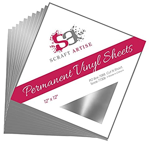 12x12 Permanent Vinyl, 10 Pack Silver Metallic Outdoor Adhesive Backed Craft Sheets in Glossy Finish for Silhouette and Cricut to Make Monograms Stickers Decals and Signs by Scraft (Scan N Cut Sticker)