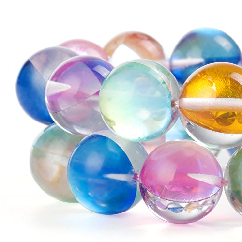 RUBYCA Round Moonstone Crystal Glass Beads Aura Iridescent for Jewelry -