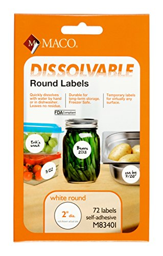 MACO White Dissolvable Labels, 2 Inches in Diameter - Round, 72 Per Pack ()