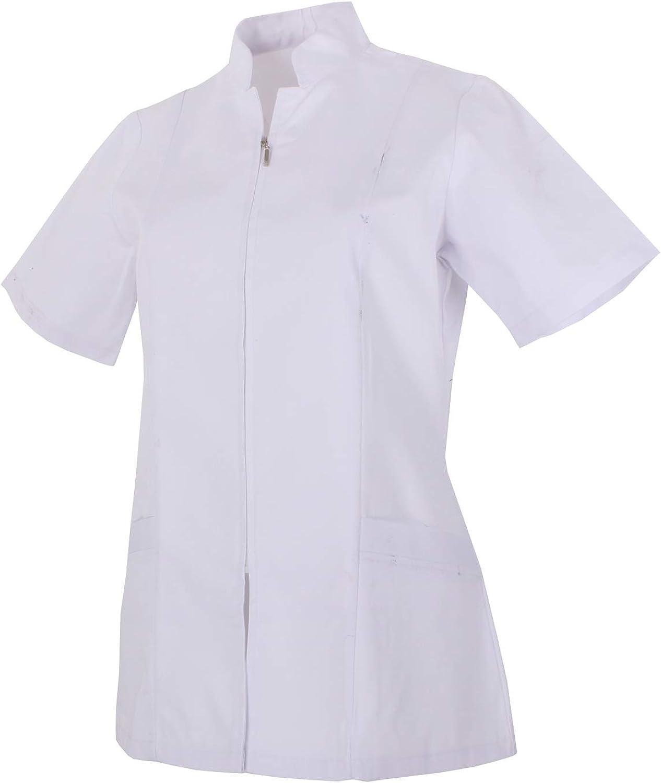 MISEMIYA - Casaca Mujer Cierre Cremallera Manga Corta Uniforme Doctora Uniforme Laboral Veterinaria SANITAWRIOS Farmacia LABORATOR- Ref.829
