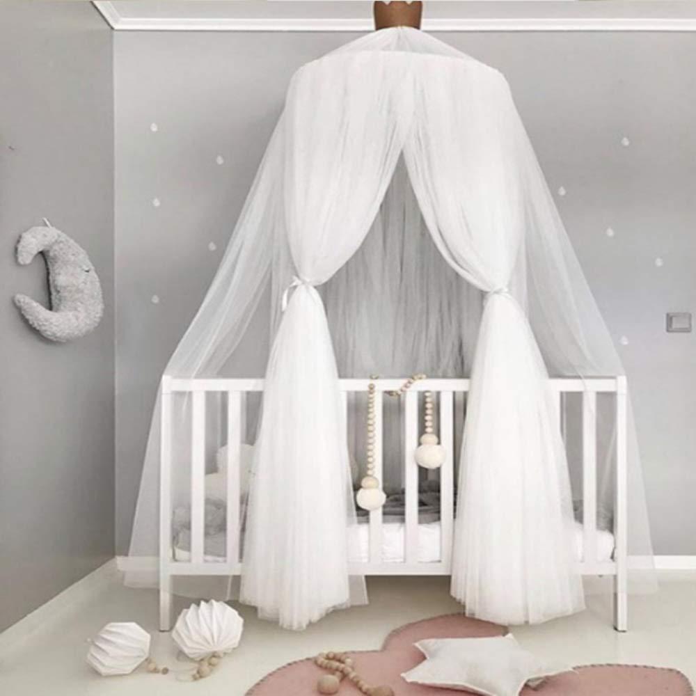 Fantastic Double-Layer Mosquito Net Bed Canopy Round Lace Dome Netting Hanging Curtains Castle Play Tent Bedding for Kids Indoor Reading Playing Games House Decoration (C-White) by Fantastic