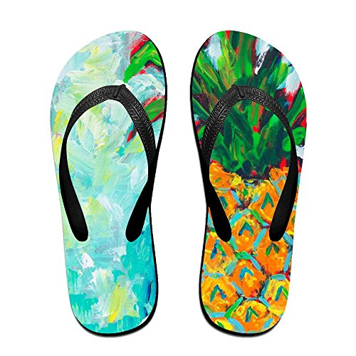 Oil Women PTJHKET Slippers for Pineapple Men Flip Flops Painting Kids Black rEpw0Eq