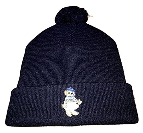 lo Bear Girl Beanie Wool Hat NWT Winter Hunter Navy Beany ()