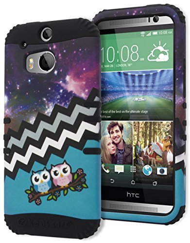 One M8 Case, Bastex Heavy Duty Hybrid Protective Case - Black Soft Silicone Cover with Teal Owls in Space Chevron Pattern Design Hard Case for HTC One M8 (Mobile M8 Boost Htc)
