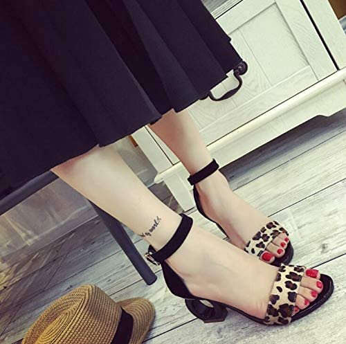 Leopard Sheepskin Fashion Sandals Horse Hair Strange Style Buckle high Heel Open-Toe Woman Shoes W470