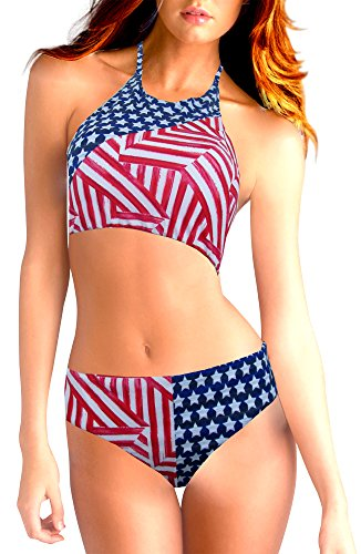 Victoria's Secret Colorblock Padded High Neck Top Bikini Swim Set American Flag Medium
