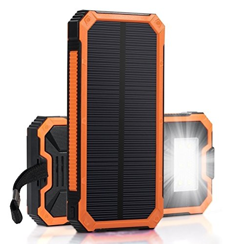 Solar Charger, IYUT 15000mAh Dual USB Port External Phone Battery Pack Solar Power Bank Charger Waterproof with LED Emergency Light for iPhone, iPad, Samsung, Laptops, Cell Phones (Orange)