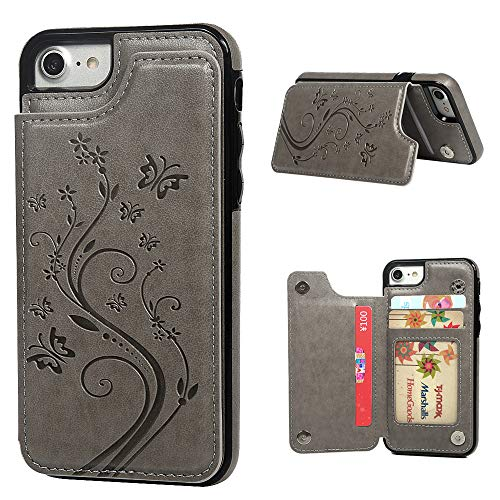 iPhone 7 Card Holder Case, iPhone 8 Wallet Case Embossed Butterfly Slim Folio Leather Cover Shockproof Shell with Credit Card Slot Protective Skin for iPhone 7 & 8, Gray
