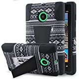 Microsoft Lumia 435 Case - Black Aztec, MPERO IMPACT X Series Tough Durable Shock Absorbing Silicone Polycarbonate Hybrid Kickstand Case for Lumia 435