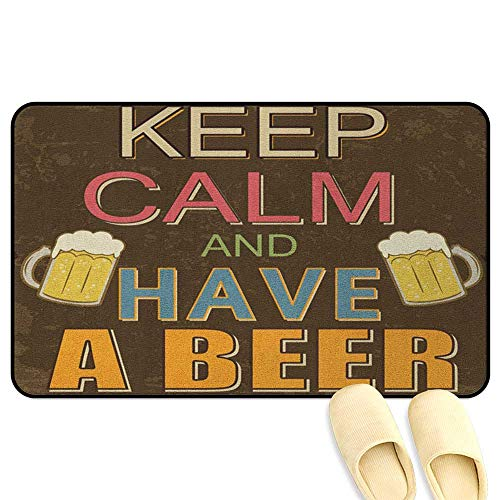 Keep Calm Entrance Mat Have a Beer Vintage Poster Design with Foamy Glasses Cheers Old Pubs and Bars Multicolor Hard Floor Protection W16 x L24 INCH ()