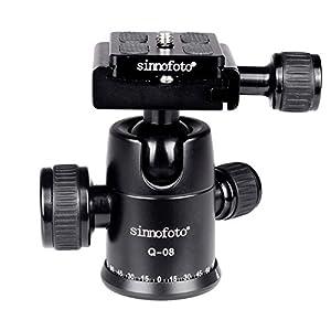 Sinnofoto Q08 Aluminium Duty Photography Camera Tripod Ball Head 360 Degree Fluid Rotation Tripod Ballhead For DSLR Camera Quick Release Plate