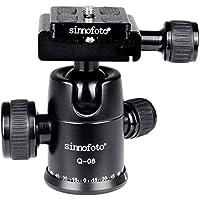 Sinnofoto Q08 Exquisite CNC Shaped Camera Tripod Ball Head With 1/4 Arca Swiss Quick Fast Plate includes Bubble Level, Max Loading 19.8lbs Ballhead for Tripod,Monopod,Slider,DSLR Camera,Camcorder