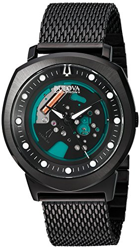 Bulova Men's 98A136 Accutron II Analog Display Japanese Quartz Black Watch - Accutron Mens Watch