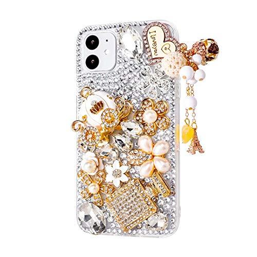 iPhone 11 Heart Pendant Pumpkin Car Case,iPhone 11 Rhinestone Case,3D Handmade Original Gemstone Crystal Bling Glitter Diamond Clear Cover Phone Case for iPhone 11 6.1'',NO7 (Iphone 3 Jeweled Case)