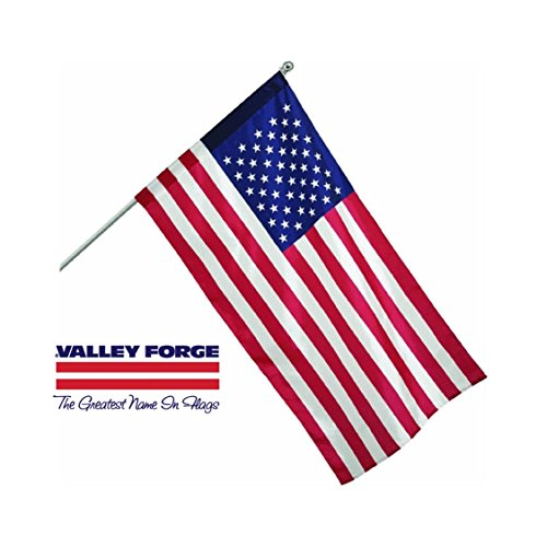 Valley Forge, American Flag, Nylon Dyed, 2.5' x 4', 100% Made in USA, Sleeved Flag, 5-Foot Brushed Aluminum Pole and - American Forge Flags Valley