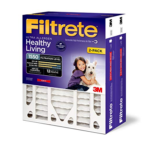 Filtrete 16x25x4, AC Furnace Air Filter, MPR 1550 DP, Healthy Living Ultra Allergen Deep Pleat, 2-Pack (Best Hvac Air Filter Brands)