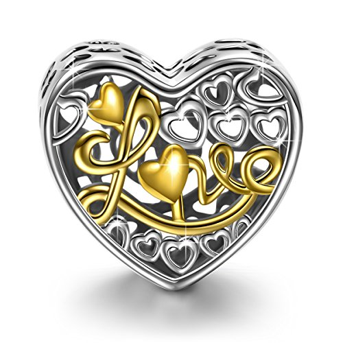NINAQUEEN Love Icing 925 Sterling Silver Gold Plated Hollow Heart Shape Bead Charms for Bracelet Jewelry Birthday Anniversary Gifts For Mom Women Wife Lovers Girlfriend ()