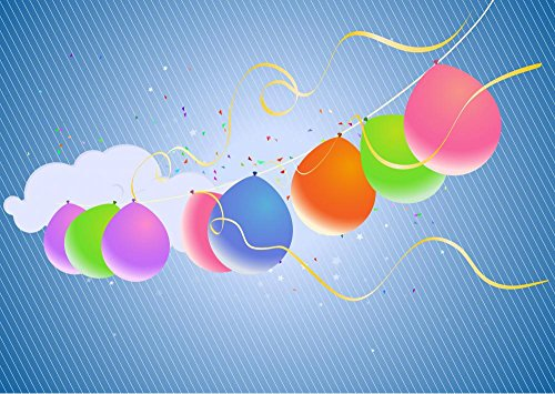 Colorful Party Balloons and Confetti Wall Decal - 24 Inches W x 17 Inches H - Peel and Stick Removable Graphic