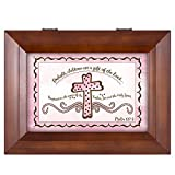 Cottage Garden Baby Girl Baptism Cross Psalm 127:3 Wood Finish Jewelry Music Box - Plays Tune You Are My Sunshine