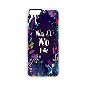 We Are all Mad Here Case Cover For SamSung Galaxy S6 We're all Mad Here Purple Floral Print, Men Cool We Are all Mad Here, {White}