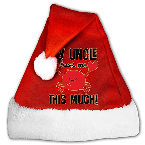 My Uncle Loves Me This Much Fashion Christmas Santa Hats Festive Holiday Party Caps Celebrations Recreation Decorations For Childrens & Adults (Cap Family Uncle)