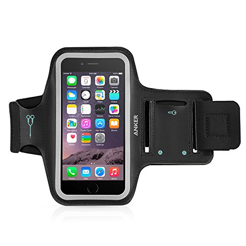 iPhone 6s Armband, Anker Sport Armband for iPhone 6 / iPhone 6s (4.7 inch) with Headphone and Key Slots and 2 Extra Cuttable Velcro Strips (Black)