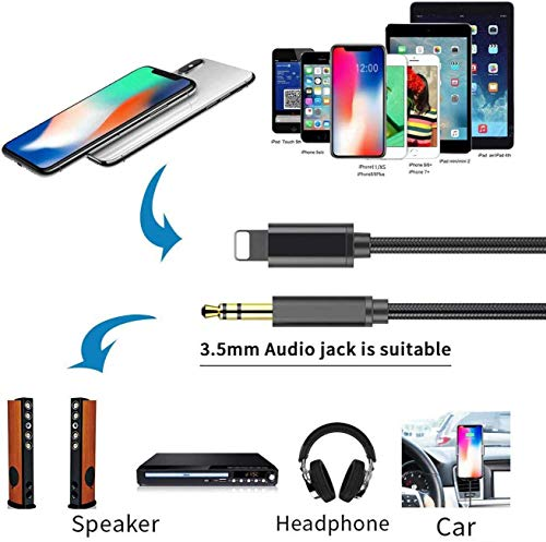 [Apple MFi Certified] iPhone to 3.5mm Car AUX Stereo Audio Adapter, Lightning to 3.5mm Nylon AUX Cable Compatible with iPhone 12/12 Pro/11/XS/XR/X 8 7/iPad to Home Stereo/Speaker/Headphone(3.3FT/1M)