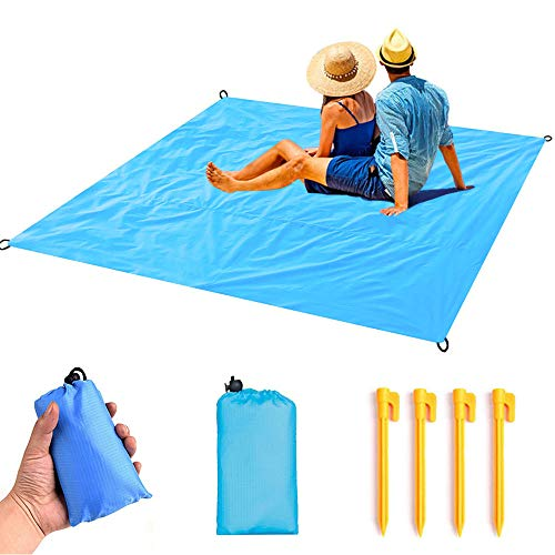 (ZCINT Packable Pocket Blanket Beach Extra Large 59″ x 71″ with 4 Stakes, Waterproof Outdoor Hiking Tarp Cover - Ripstop Nylon Compact Ground Mat for Camping, Travel, Picnic)