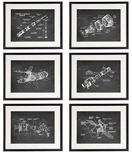 IDIOPIX Space 02 Patent Wall Decor Chalkboard Art Print Set of 6 Prints UNFRAMED