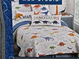 Max Studio Kids 2-Piece Reversible DINOSAURS TWIN Quilt Set (square PILLOW pictured included)