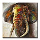 SEVEN WALL ARTS - 100% Hand Painted Oil Painting Animal Colorful Animal Painting with Stretched Frame Wall Art for Home Decor Ready to Hang (24 x 24 Inch, Elephant)