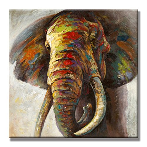 SEVEN WALL ARTS - Modern Abstract Elephant Animal Colorful Animal Artwork with Stretched Frame Wall Art for Home Decor Ready to Hang 24 x 24 Inch
