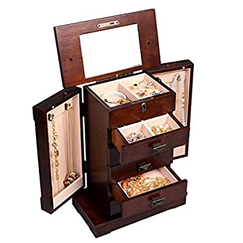 Jewelry Cabinet with Mirror Jewellery Box Organizer Wooden Jewelry Storage Armoire Hanging 5 Drawers