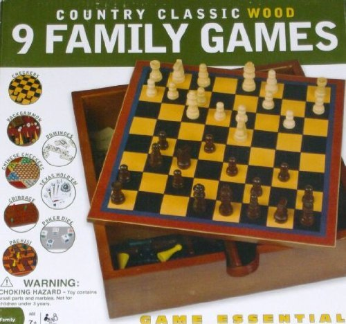 Cardinal Country Classic Wood Family Game Backgammon Checkers Texas Hold` Em
