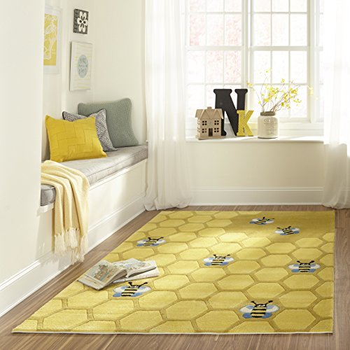 Momeni Rugs LMOJULMJ15HCG500R Lil' Mo Whimsy Collection, Kids Themed Hand Carved & Tufted Area Rug, 5′ Round, Honeycomb Yellow For Sale