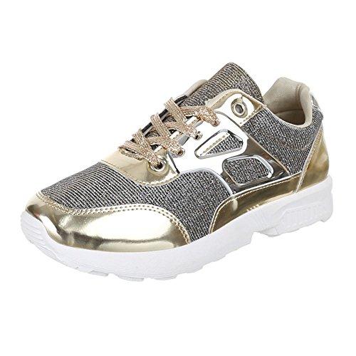 Ital-Design Damen Schuhe, A6015, Freizeitschuhe Trendige GLITTERSTOFF Gold