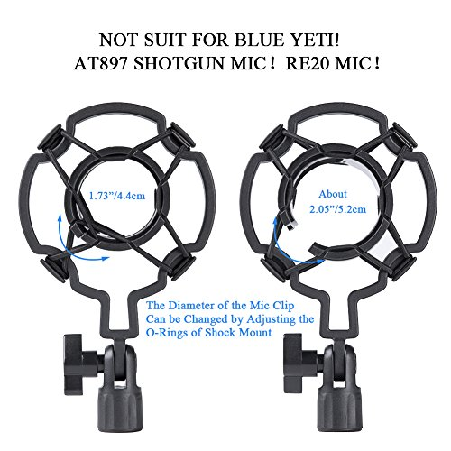 Upgraded Adjustable Microphone Suspension Boom Scissor Arm Stand with Shock Mount Mic Clip Holder 3/8'' to 5/8'' Screw Adapter -for Blue Yeti, Snowball & Other Microphones (stand with adapter) - Image 3
