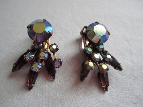 Vintage Aurora Borealis Rhinestone Metal - Coro Rhinestone Earrings Shopping Results