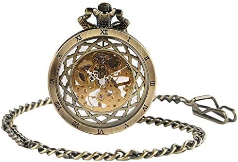 YXZQ懐中時計、ヴィンテージゴールド中空機械式チェーンレトロ男性ユニークなスチームパンクローマ数字スケルトン機械式懐中時計