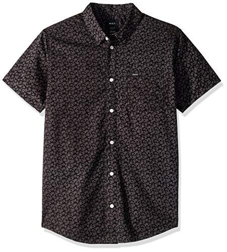 (RVCA Men's Porcelain Short Sleeve Woven Shirt, Black, L)