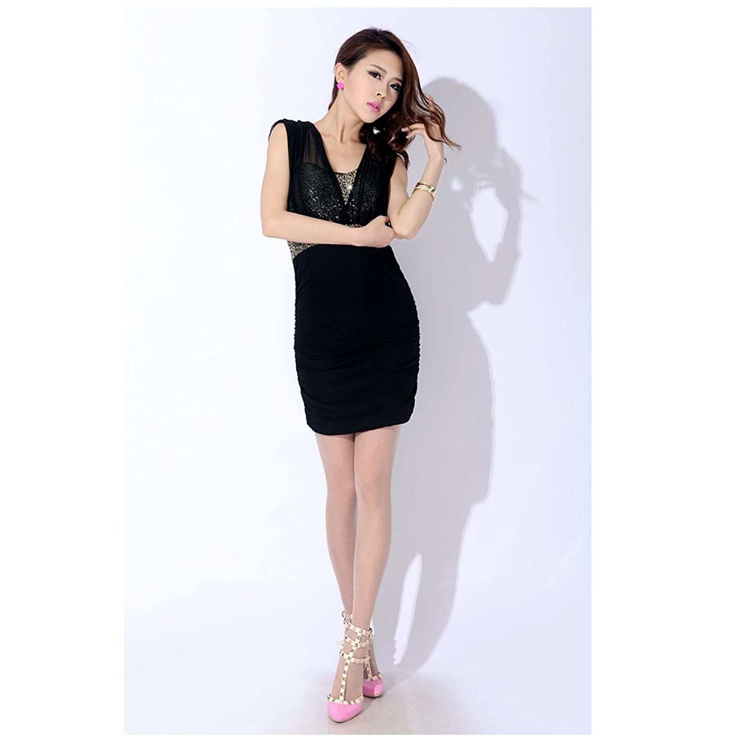 New Sexy Ladies Sequin Mesh See-through Mesh Sleeveless Party Dress Cocktail Dress