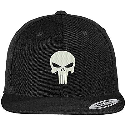 Trendy Apparel Shop Punisher Skull Embroidered Flat Bill Snapback Adjustable Cap