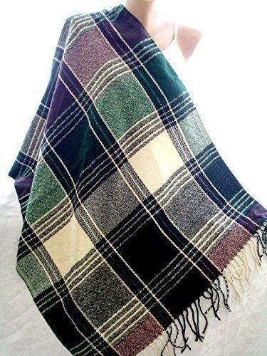 Fall Tartan - Soft green scarf chunky scarf tartan fall scarf oversized scarf vegan scarf winter scarf green scarf christmas gift idea for her