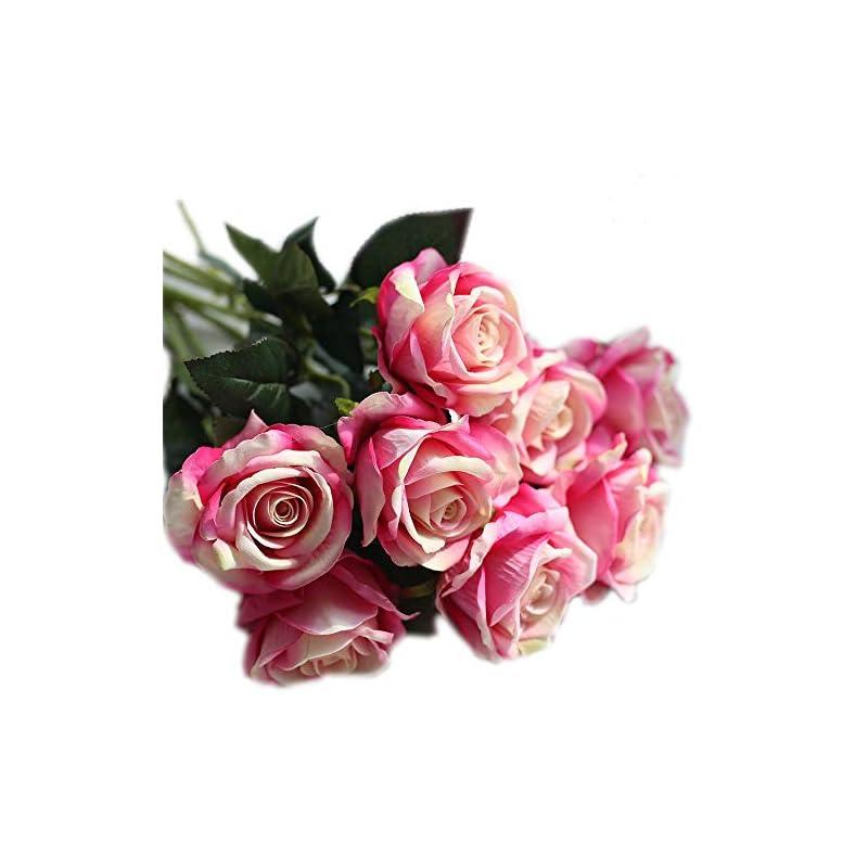 silk flower arrangements cn-knight artificial flower 12pcs 22'' long stem silk velvet rose real touch faux flower for wedding bridal bouquet bridesmaid home decor office hotel baby shower party prom centerpiece(gradient pink)