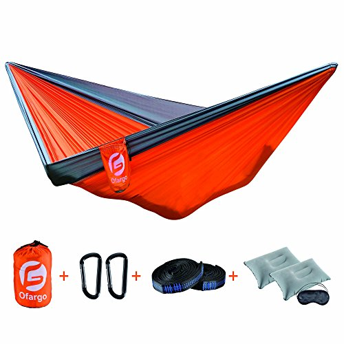 Camping Hammock Ofargo Portable Hammock Cot  Durable Lightweight 210T Nylon With Tree Straps Carabiners Air Pillow Sleep Mask For Indoor   Outdoor Recreation Hiking Beach Garden Backyard  Double