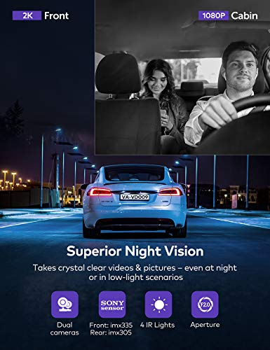 Dual Dash Cam VAVA 2K Front and 1080P Cabin or 25K 30fps Single Front Car Camera Both Sony Sensor